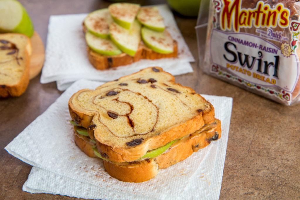 Apple-Cinnamon-Raisin Peanut Butter Sandwich