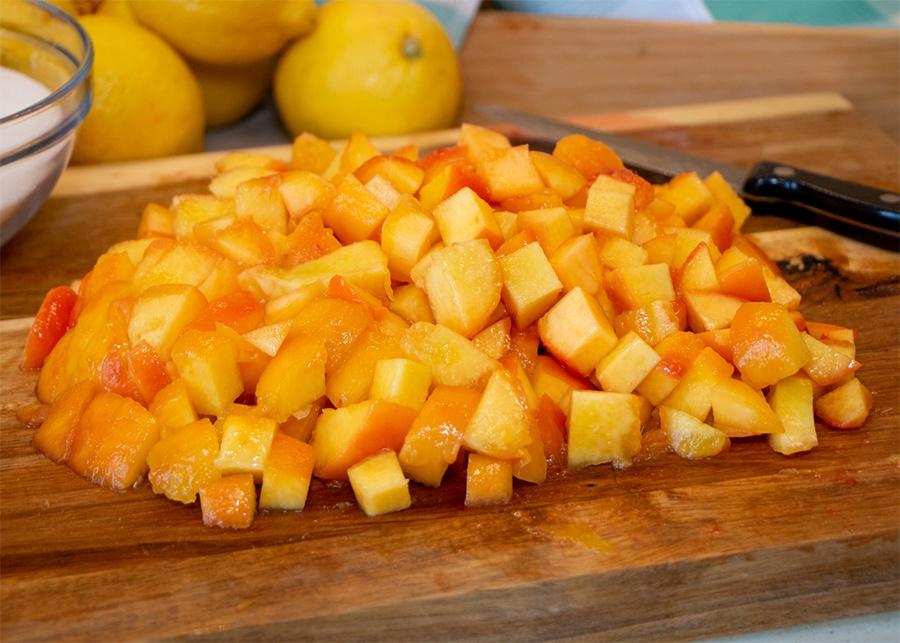 How to Make Peach Jam - Chop Peaches